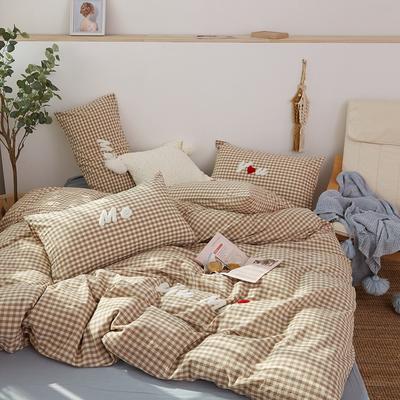 2021全棉色织水洗棉四件套  小号只有小蓝格,小黄格有货 1.8m床单款(6英尺)床 唯一(小咖格)