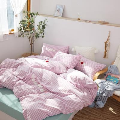 2021全棉色织水洗棉四件套  小号只有小蓝格,小黄格有货 1.5m床单款(5英尺)床 唯一(小紫格)