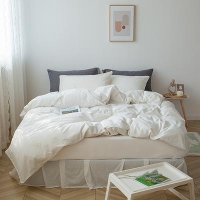 2021新款ins全棉水洗棉嵌条工艺款四件套 1.2米床三件套床单款 ins纯白