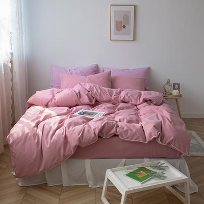 2021新款ins全棉水洗棉嵌条工艺款四件套 1.2米床三件套床单款 ins豆沙