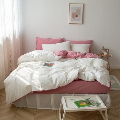 2021新款ins全棉水洗棉嵌条工艺款四件套 1.2米床三件套床单款 ins粉白