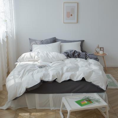 2021新款ins全棉水洗棉嵌条工艺款四件套 1.2米床三件套床单款 ins灰白