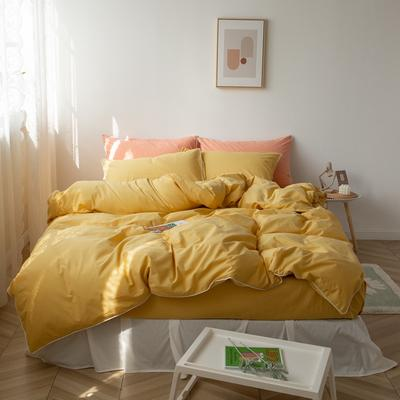 2021新款ins全棉水洗棉嵌条工艺款四件套 1.2米床三件套床单款 ins姜黄