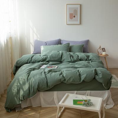 2021新款ins全棉水洗棉嵌条工艺款四件套 1.2米床三件套床单款 ins军绿