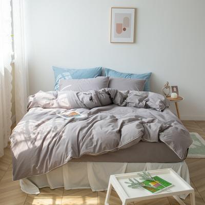 2021新款ins全棉水洗棉嵌条工艺款四件套 1.2米床三件套床单款 ins木灰