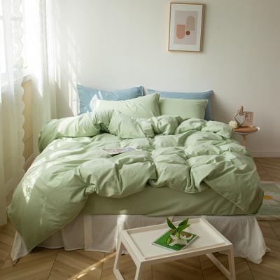 2021新款ins全棉水洗棉嵌条工艺款四件套 1.2米床三件套床单款 ins浅绿