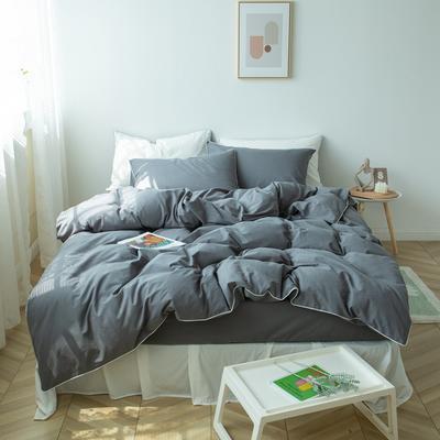 2021新款ins全棉水洗棉嵌条工艺款四件套 1.2米床三件套床单款 ins深灰