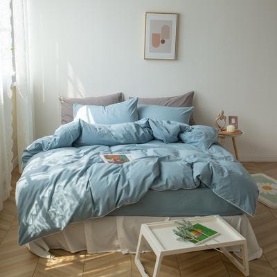 2021新款ins全棉水洗棉嵌条工艺款四件套 1.2米床三件套床单款 ins天蓝