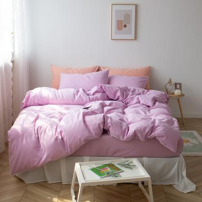 2021新款ins全棉水洗棉嵌条工艺款四件套 1.2米床三件套床单款 ins雅紫