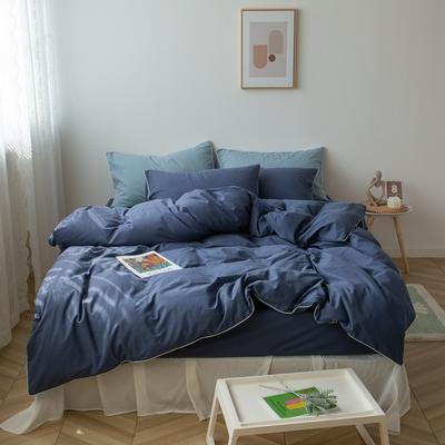 2021新款ins全棉水洗棉嵌条工艺款四件套 1.2米床三件套床单款 ins湛蓝