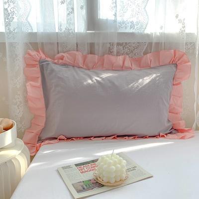 2021新款全棉水洗棉韩版单品枕套 48*74cm 一对 粉灰