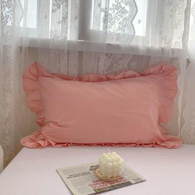 2021新款全棉水洗棉韩版单品枕套 48*74cm 一对 粉玉