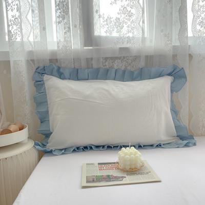2021新款全棉水洗棉韩版单品枕套 48*74cm 一对 蓝白