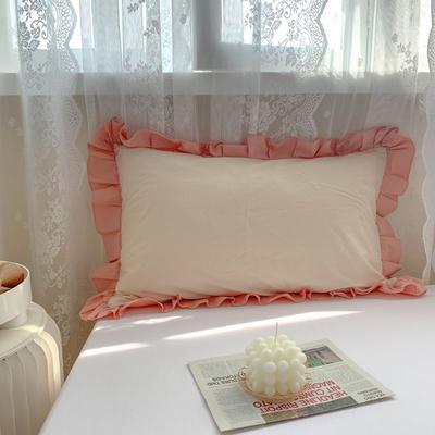 2021新款全棉水洗棉韩版单品枕套 48*74cm 一对 米桔