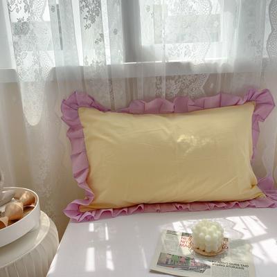2021新款全棉水洗棉韩版单品枕套 48*74cm 一对 明黄