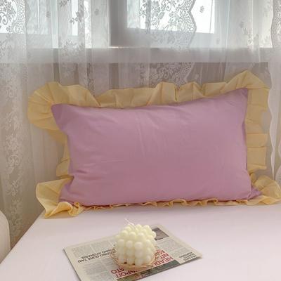 2021新款全棉水洗棉韩版单品枕套 48*74cm 一对 浅紫