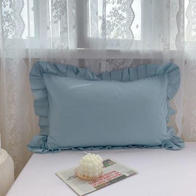 2021新款全棉水洗棉韩版单品枕套 48*74cm 一对 天蓝