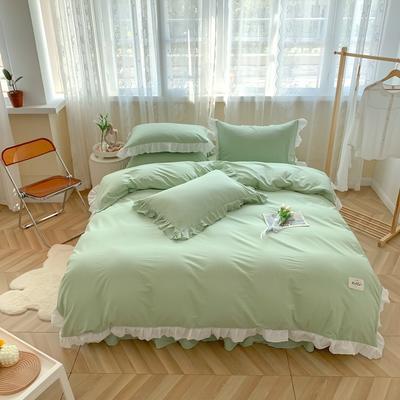 2021新款全棉水洗棉奶油系韩版撞色系四件套 1.5m四件套床单款 薄荷奶绿