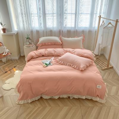 2021新款全棉水洗棉奶油系韩版撞色系四件套 1.5m四件套床单款 蜜桃乌龙