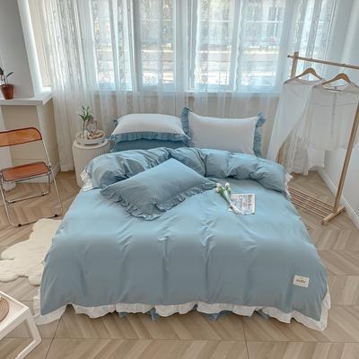 2021新款全棉水洗棉奶油系韩版撞色系四件套 1.5m四件套床单款 清新海盐