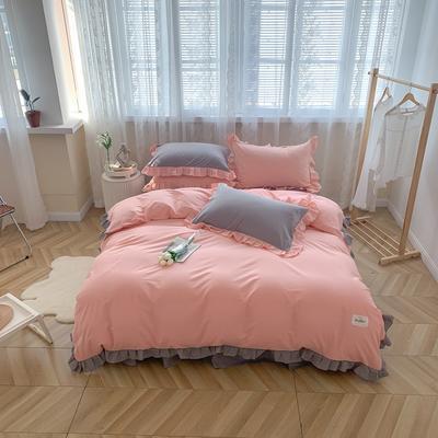 2021新款全棉水洗棉奶油系韩版撞色系四件套 1.5m四件套床单款 樱花莓莓