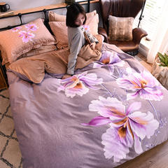 2018大版魔暖绒四件套影棚图 1.5m床单款 紫薇