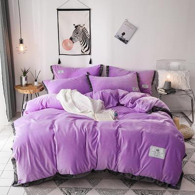 2019新款宽边加厚水晶绒四件套 1.2m/1.35床三件套(床单款) 浅紫