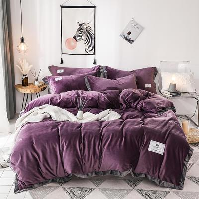2019新款宽边加厚水晶绒四件套 1.2m/1.35床三件套(床单款) 深紫