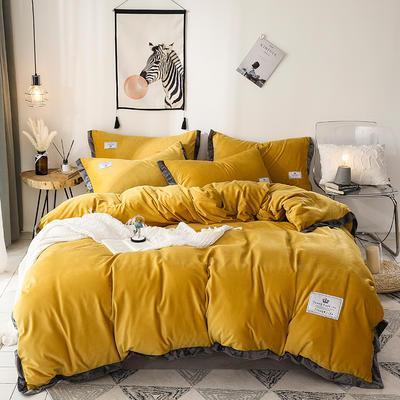 2019新款宽边加厚水晶绒四件套 1.2m/1.35床三件套(床单款) 亮黄