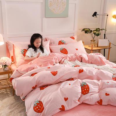 2019新款全棉加厚水晶绒套件 2.0m床(被套+枕套*2) 甜心草莓