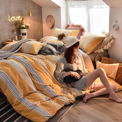2019新款 ins无印简约风牛奶绒宝宝绒四件套 0.9/1.2m/1.35床三件套床单款 平行线 黄