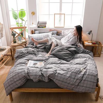 2020四季款北欧简约无印日式色织水洗棉套件 1.2m床单款三件套 初相