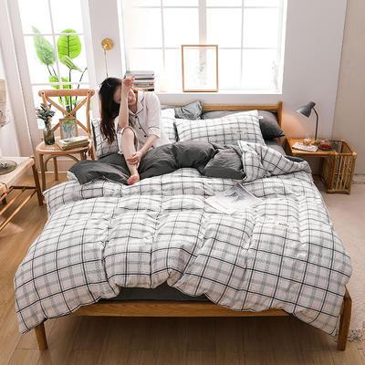 2020四季款北欧简约无印日式色织水洗棉套件 1.2m床单款三件套 道格