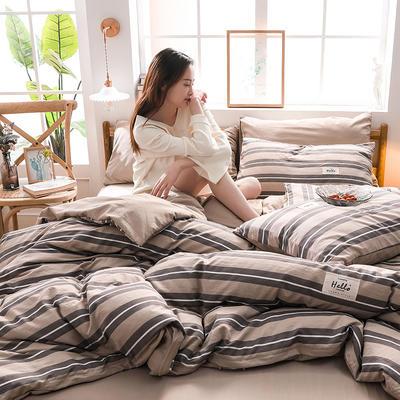 2020四季款北欧简约无印日式色织水洗棉套件 1.2m床单款三件套 范斯