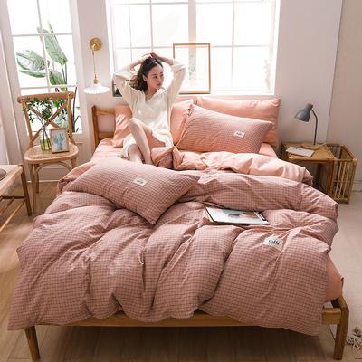 2020四季款北欧简约无印日式色织水洗棉套件 1.2m床单款三件套 格调粉