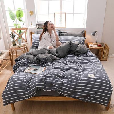 2020四季款北欧简约无印日式色织水洗棉套件 1.2m床单款三件套 魔力条纹灰