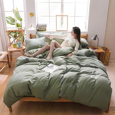 2020四季款北欧简约无印日式色织水洗棉套件 1.2m床单款三件套 香草绿