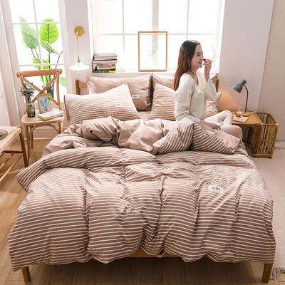 2020四季款北欧简约无印日式色织水洗棉套件 1.2m床单款三件套 幸福约定