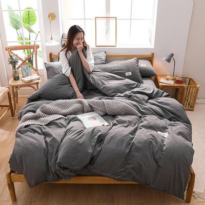 2020四季款北欧简约无印日式色织水洗棉套件 1.2m床单款三件套 雅致灰