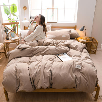 2020四季款北欧简约无印日式色织水洗棉套件 1.2m床单款三件套 雅致香槟