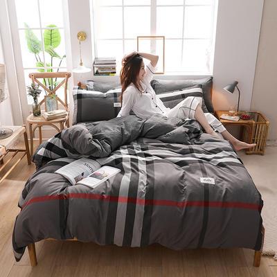 2020四季款北欧简约无印日式色织水洗棉套件 1.2m床单款三件套 英伦灰