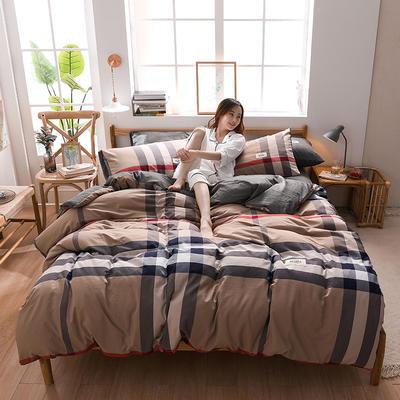 2020四季款北欧简约无印日式色织水洗棉套件 1.2m床单款三件套 英伦咖