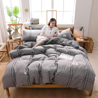2020四季款北欧简约无印日式色织水洗棉套件 1.2m床单款三件套 优格