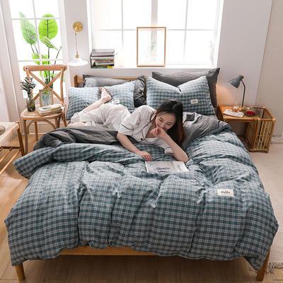 2020四季款北欧简约无印日式色织水洗棉套件 1.2m床单款三件套 羽墨