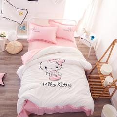 小可家纺     高品质水洗棉KT猫2色 标准200*230cm 大KT猫-白