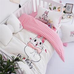 2019新品亲子ins婴童款全棉三件套 婴幼儿三件套 (婴幼儿小床,二童床通用) 一只兔子白