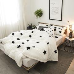 2019新款兔绒水洗棉冬被 流苏方抱枕单个含芯 白五角星
