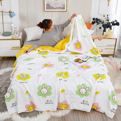 2020新款亲肤水洗棉印花夏凉被 110x150cm 呱呱兔 黄