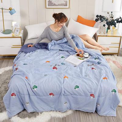 2020新款親膚水洗棉印花夏涼被 110x150cm 蘑菇點點 藍