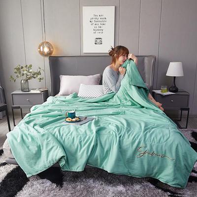 2020新款水洗棉绣花夏被 110x150cm 沁绿